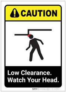 Caution: Low Clearance Watch Your Head ANSI Portrait - Label