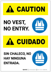 Caution: No Entry Without Vest ANSI Bilingual Portrait - Label