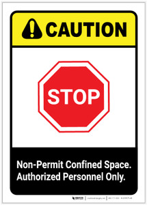Caution: Non Permit Confined Space ANSI Portrait - Label