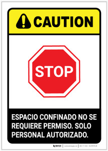 Caution: Non Permit Confined Space Spanish ANSI Portrait - Label