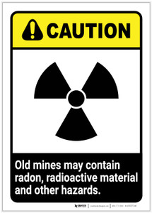 Caution: Old Mine Hazards ANSI Portrait - Label