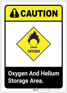 Caution: Oxygen and Helium Storage Area ANSI Portrait - Label