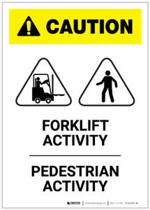 Caution: Forklift Activity/Pedestrain Activity Portrait - Label