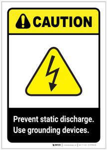 Caution: Prevent Static Discharge ANSI Portrait - Label