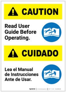 Caution: Read User Guide Before Operating Bilingual Spanish Portrait - Label