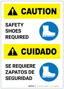 Caution: Safety Shoes Required Bilingual Portrait - Label