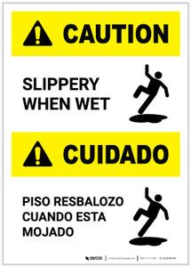 Caution: Slippery When Wet Bilingual Portrait - Label