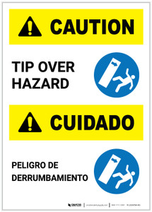 Caution: Tip Over Hazard Bilingual Portrait - Label