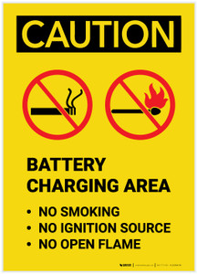 Caution: Battery Charging Area Forklift No Smoking Open Flame Portrait - Label