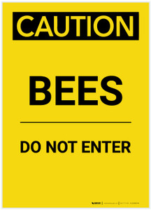 Caution: Bees/Do Not Enter Portrait - Label