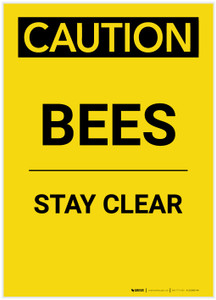 Caution: Bees/Stay Clear Portrait - Label