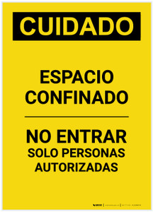 Caution: Confined Space Do Not Enter Spanish Portrait - Label
