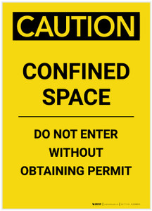 Caution: Confined Space Do Not Enter Without Obtaining Permit Portrait - Label