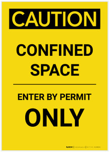 Caution: Confined Space Enter by Permit Only Portrait - Label