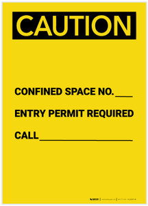 Caution: Confined Space No. Permit Required Portrait - Label