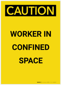 Caution: Confined Space Worker Portrait - Label
