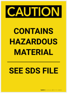 Caution: Contains Hazardous Material See SDS Portrait - Label