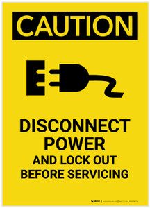 Caution: Disconnect Power Supplies and Lock Out Before Servicing Portrait - Label