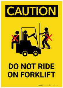 Caution: Do Not Ride On Forklift Multiple People Portrait - Label
