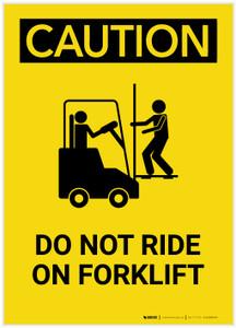 Caution: Do Not Ride On Forklift Portrait - Label