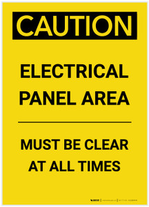 Caution: Electrical Panel Area Must be Clear at All Times Portrait - Label