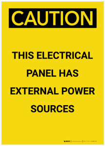 Caution: Electrical Panel Has External Power Sources Portrait - Label