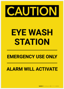 Caution: Eye Wash Station Portrait - Label