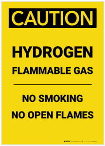 Caution: Flammable Gas Hydrogen No Smoking Open Flames Portrait - Label