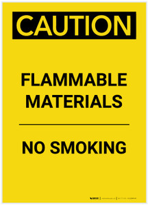 Caution: Flammable Materials No Smoking Portrait - Label