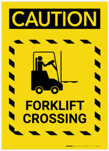 Caution: Forklift Crossing Hazard Lines Portrait - Label