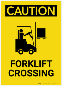 Caution: Forklift Crossing with Graphic Right Portrait - Label