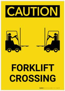 Caution: Forklift Crossing Portrait - Label