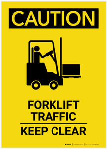 Caution: Forklift Traffic Keep Clear with Graphic Portrait - Label