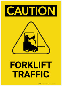 Caution: Forklift Traffic With Graphic Portrait - Label