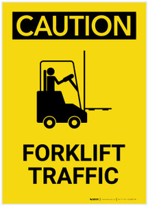 Caution: Forklift Traffic Portrait - Label