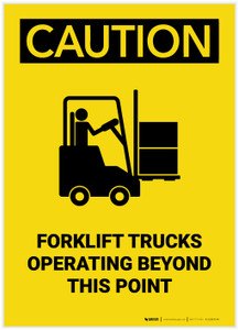 Caution: Forklift Trucks Operating Beyond Point with Graphic Portrait - Label