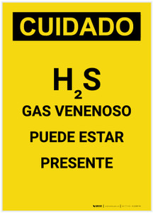 Caution: H2S Poisonous Gas May Be Present Spanish Portrait - Label