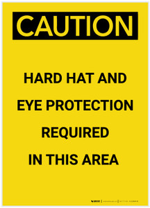 Caution: Hard Hat and Eye Protection Required In Area Portrait - Label