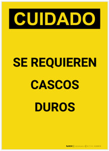 Caution: Hard Hats Required Spanish Portrait - Label