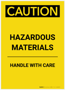 Caution: Hazardous Materials Handle With Care Portrait - Label