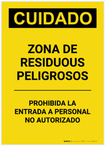 Caution: Hazardous Waste Area Keep Out Spanish Portrait - Label