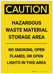 Caution: Hazardous Waste Material Storage Area Portrait - Label