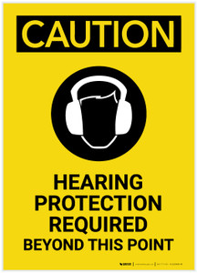 Caution: Hearing Protection Required Beyond This Point with Graphic Portrait - Label