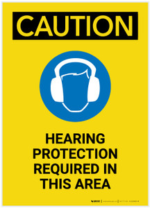 Caution: Hearing Protection Required In Area with Graphic Portrait - Label