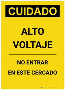Caution: High Voltage Do Not Enter Enclosure Spanish Portrait - Label
