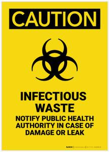 Caution: Infectious Waste Notify Public Health Authority Portrait - Label