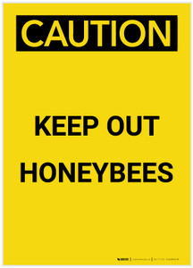 Caution: Keep Out Honeybees Portrait - Label