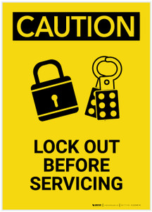 Caution: Lock Out Before Servicing Portrait - Label