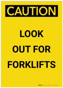 Caution: Look Out For Forklifts Portrait - Label