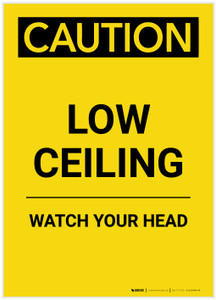 Caution: Low Ceiling Watch Your Head Yellow Portrait - Label